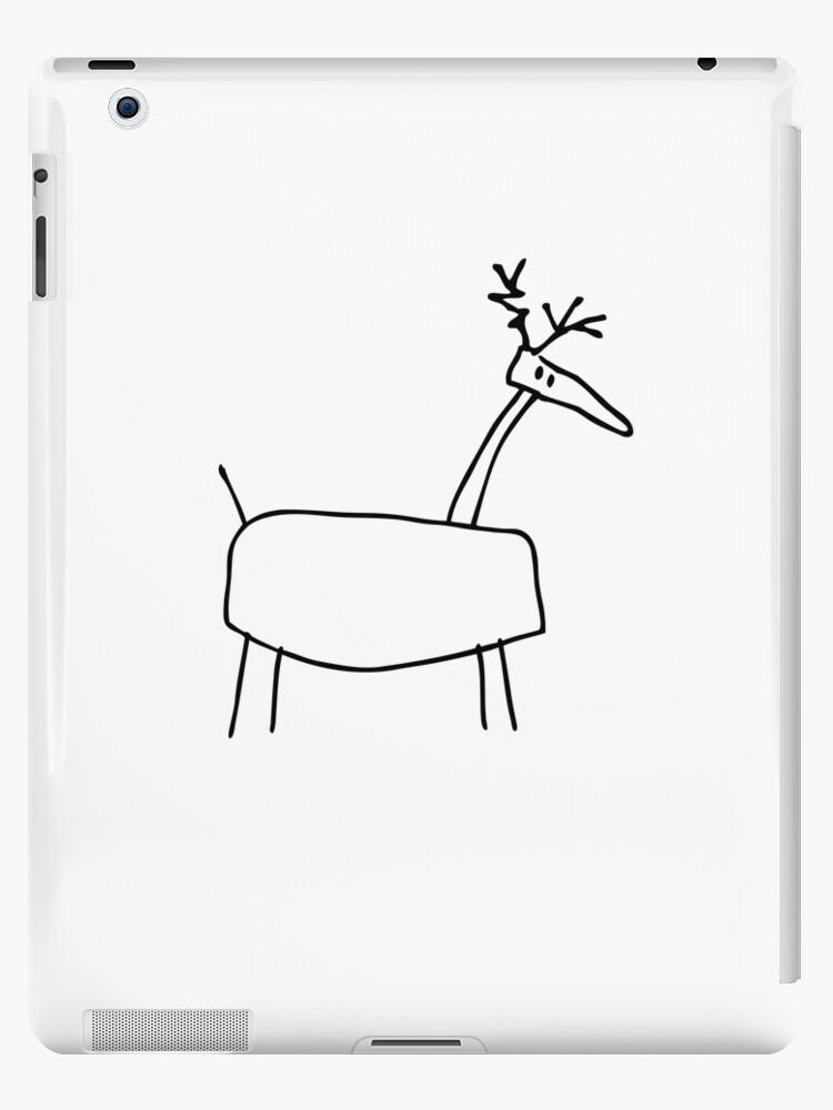 poro the reindeer outline black ipad cases skins by pekka