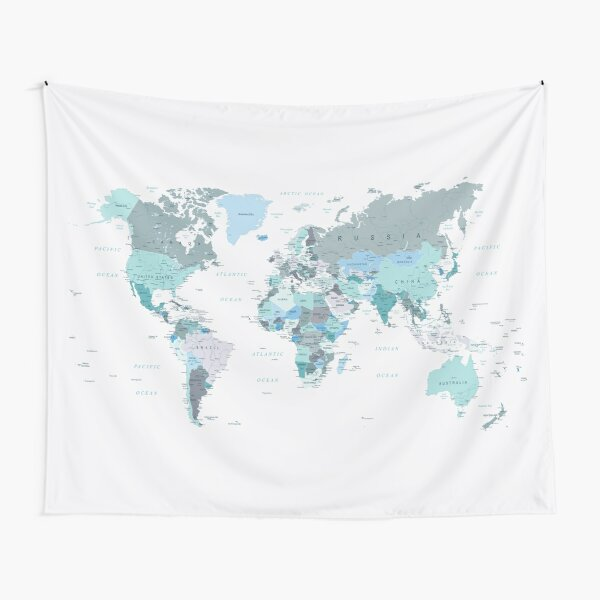 Map of the World in shades of Teal Tapestry