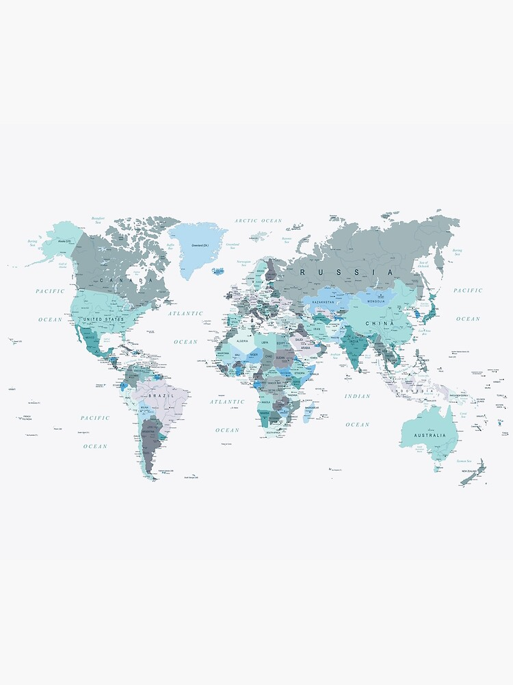 Map of the World in shades of Teal by UrbanEpiphany