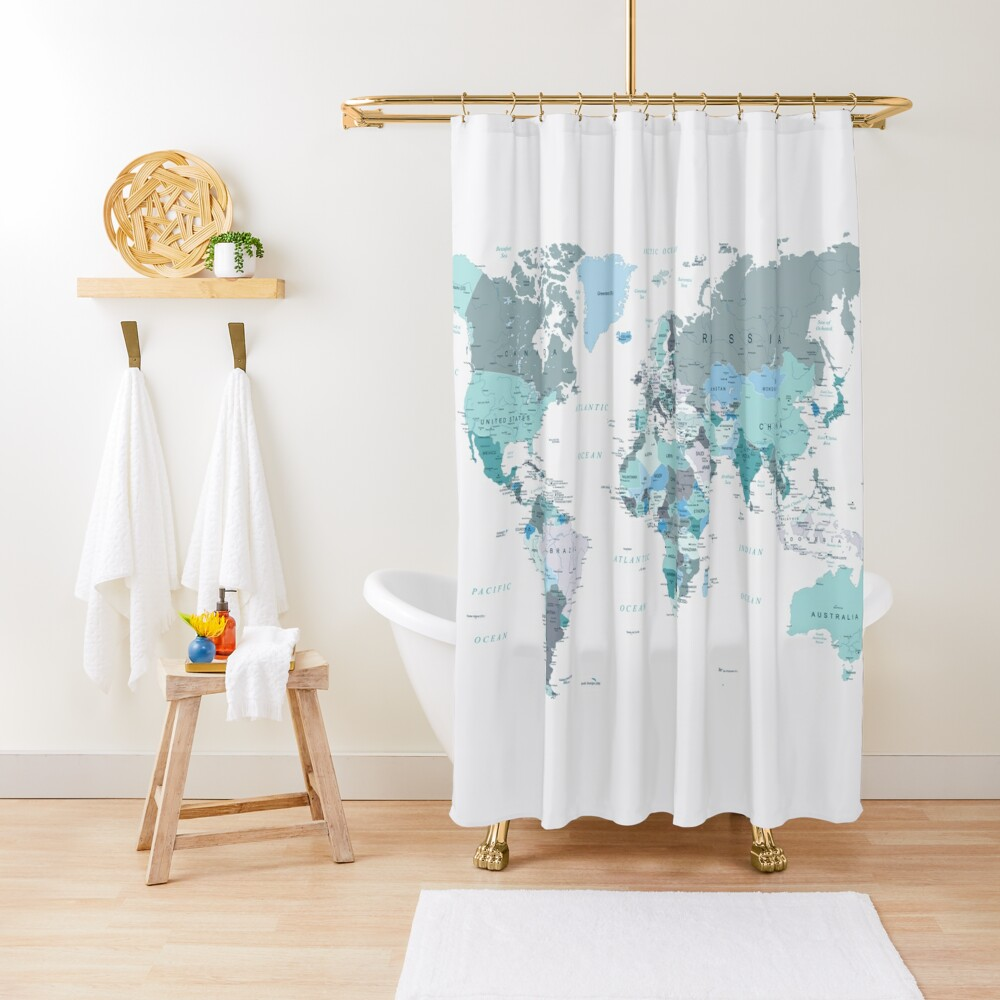 Map of the World in shades of Teal Shower Curtain