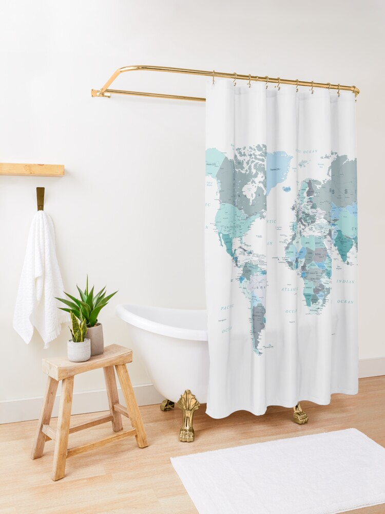 Alternate view of Map of the World in shades of Teal Shower Curtain