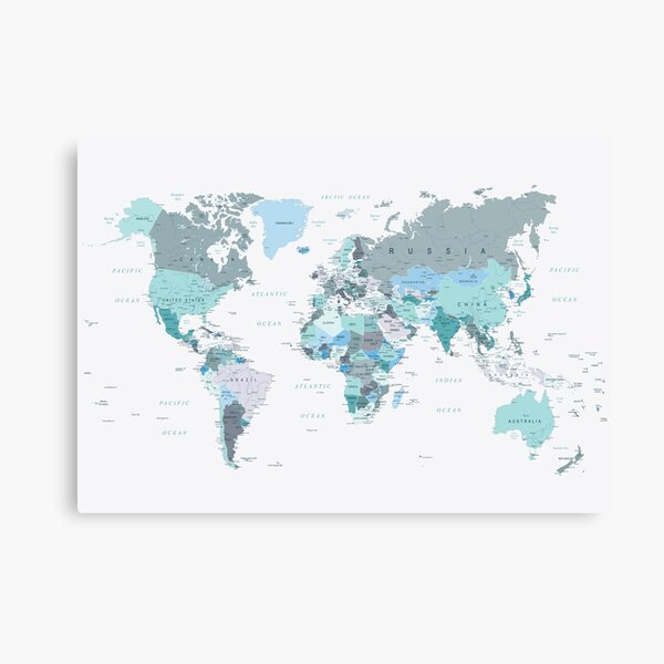 Map of the World in shades of Teal Canvas Print