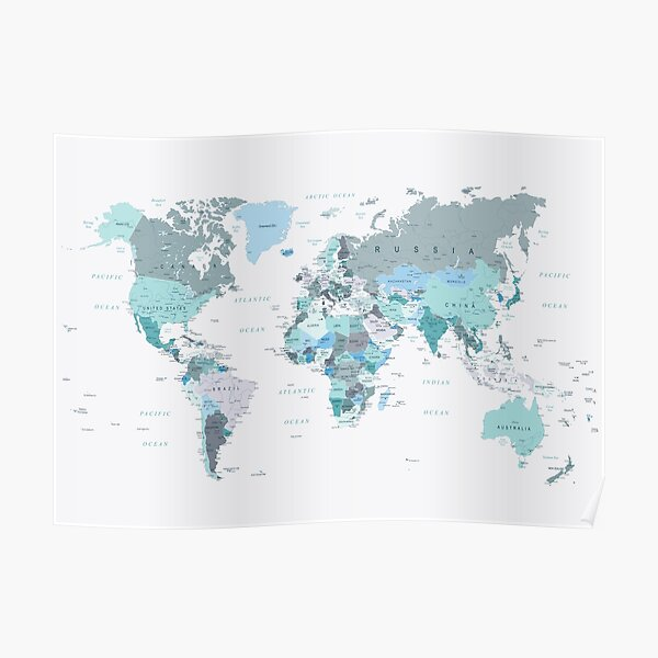 Map of the World in shades of Teal Poster