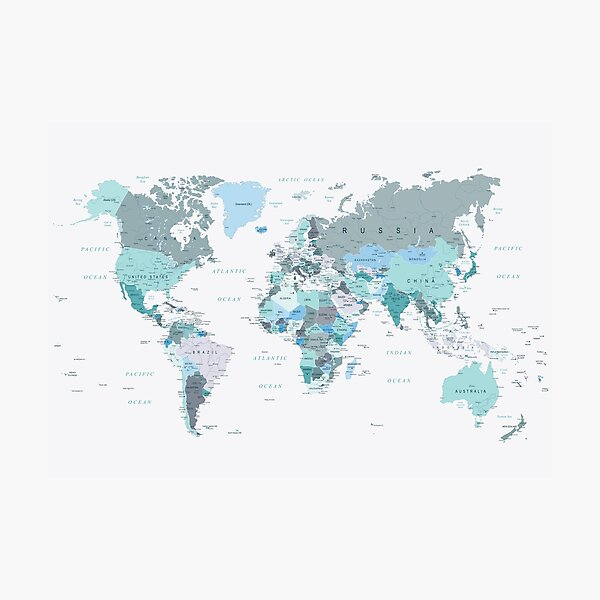 Map of the World in shades of Teal Photographic Print