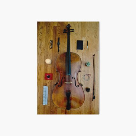 Cello flat lay Art Board Print
