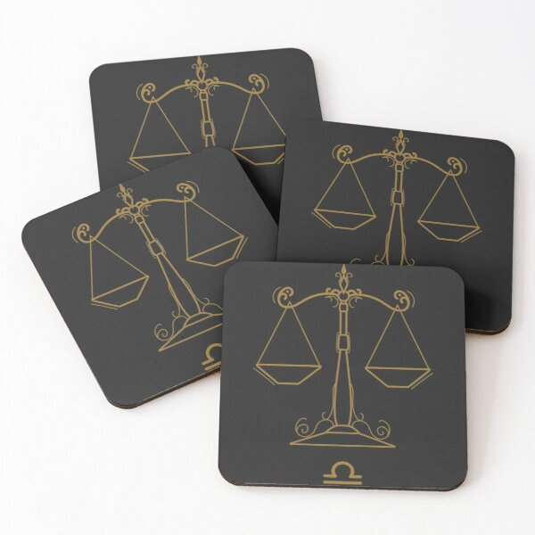 Libra Scales - BLACK AND GOLD Coasters (Set of 4)