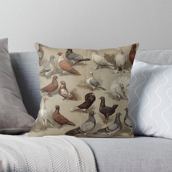 Pigeon Breeds Chart Throw Pillow
