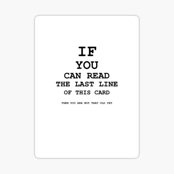 Eye Test Birthday Card Sticker