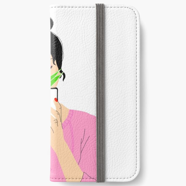 Girl and Plant drawing iPhone Wallet