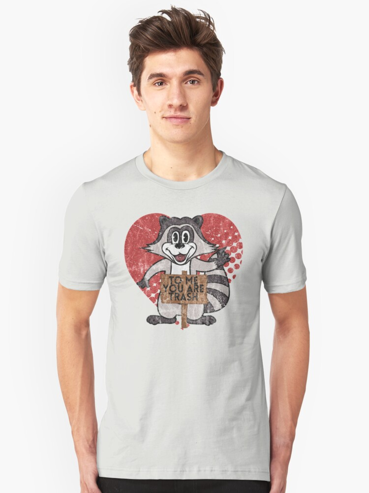 Alternate view of Trash Panda Raccoon To Me You Are Trash Fun Sarcastic Love Heart Racoon Slim Fit T-Shirt