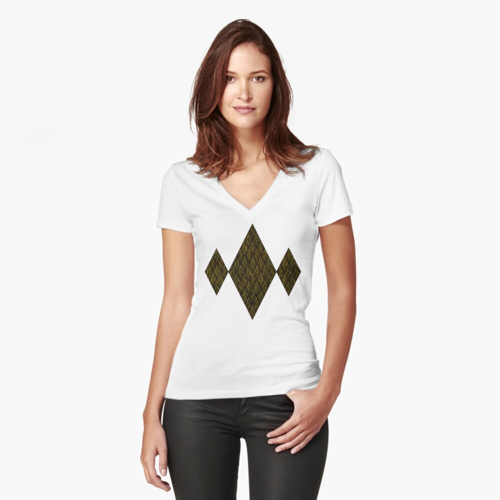 Earthen Scales, Golden Streams Fitted V-Neck T-Shirt
