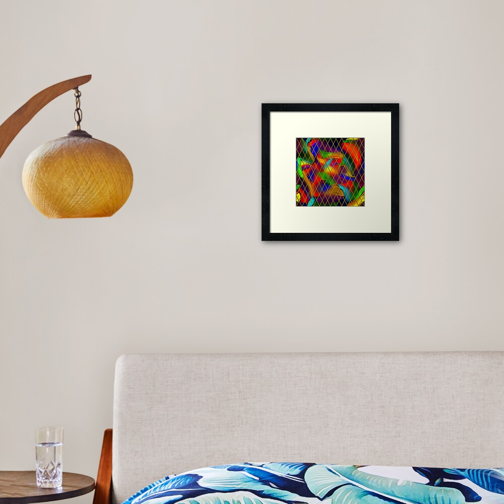 Golden Diamonds, Rainbow Void Framed Art Print