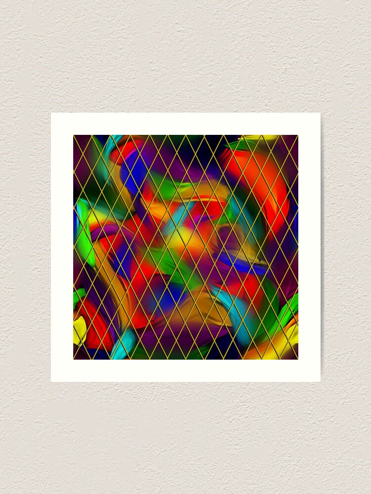 Alternate view of Golden Diamonds, Rainbow Void Art Print