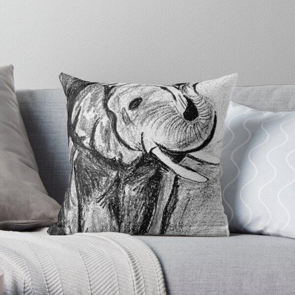 Wild Elephant Throw Pillow