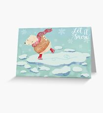 "Polar Bear skating – ""Let It Snow"" Greeting Card"