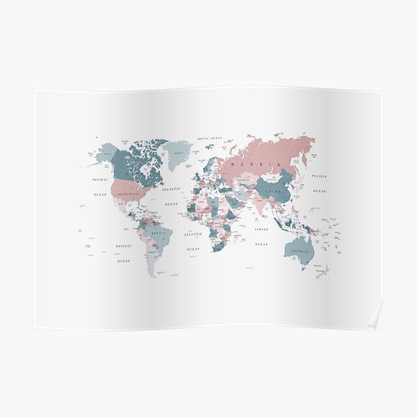 Map of the World in Pink and Blue Poster