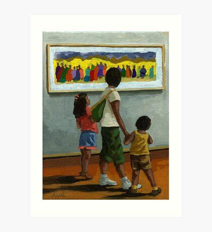 Three Along Water Street - figurative oil painting Art Print