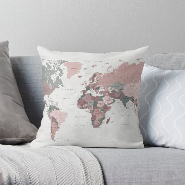 Map of the World in Pink and Green Throw Pillow