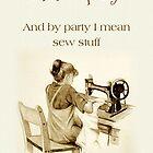 Liebes-Nähen, Zeichnung des Mädchens an der Maschine, Spaß, Kunst von Joyce Geleynse