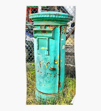 Quirky Green Post Office Pillar Box Poster