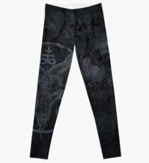 Black metal occult baphomet skull design. Leggings