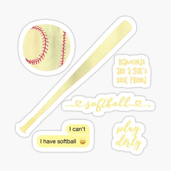Light Yellow Watercolor Softball Sticker Pack Sticker