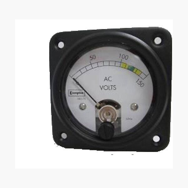 #Ancient #Voltmeter, #Gauge, #Dial, AC, Volts, technology, electricity, ampere, equipment, control, instrument Photographic Print