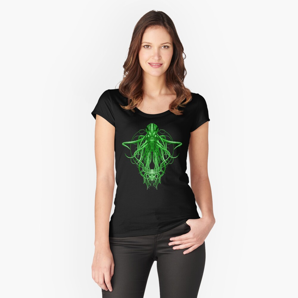 Cthulhu in green Fitted Scoop T-Shirt