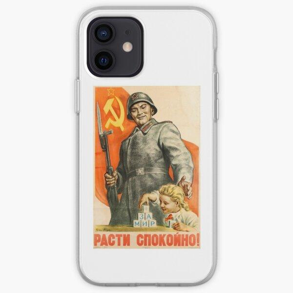 Vintage Soviet Propaganda Poster: Grow Up Peacefully! Советский пропагандистский плакат: Расти мирно! iPhone Soft Case