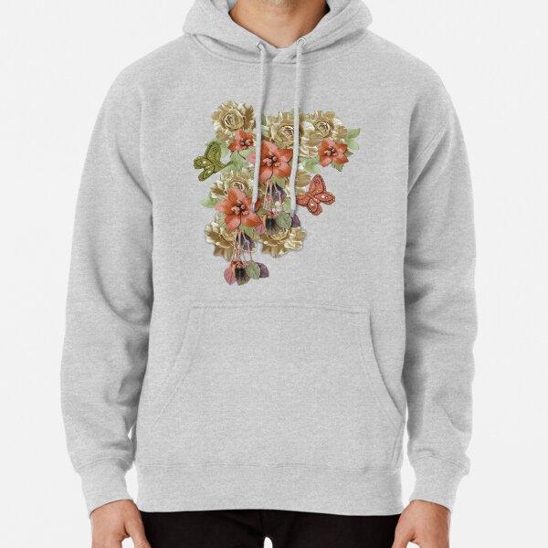 Leather Flowers & Butterflies Pullover Hoodie