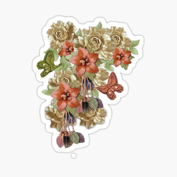 Leather Flowers & Butterflies Sticker