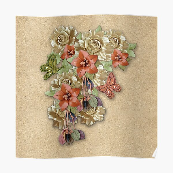 Leather Flowers & Butterflies Poster