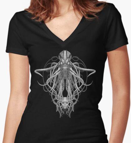 Cthulhu / Kraken in Black and White Women's Fitted V-Neck T-Shirt