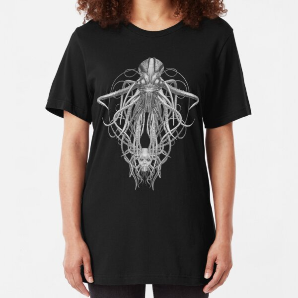 Cthulhu / Kraken in Black and White Slim Fit T-Shirt