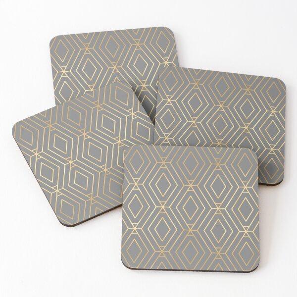 Grey & Gold Diamond Geometric Coasters (Set of 4)