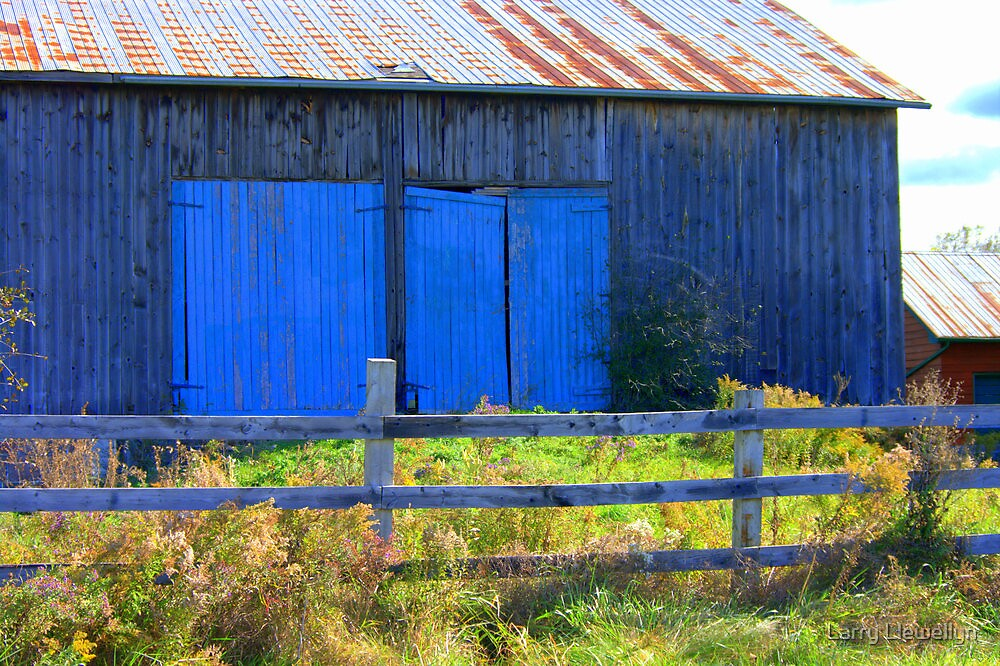 Barn's Blue Doors...............Why? by Larry Llewellyn