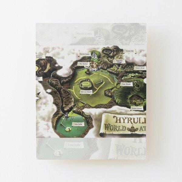 Hyrule Map Carte de l'Atlas mondial, affiche, tapisserie murale, tableau d'art, etc ... Impression montée sur bois