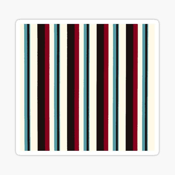 Retro Vertical Burgundy Black Teal and Cream Stripes Sticker