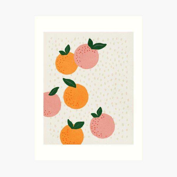 Oranges, Mid century modern kids wall art, Nursery room Art Print