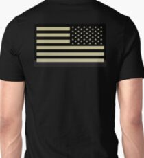 AMERICAN ARMY, Soldier, American Military, Arm Flag, US Military, IR, Infrared, USA, Flag, Reverse side flag, on BLACK Unisex T-Shirt