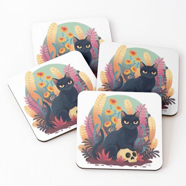 Skull kitty Coasters (Set of 4)