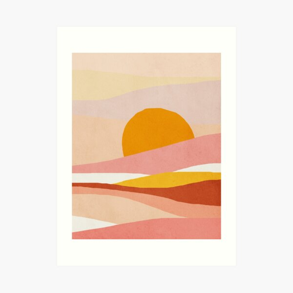 Abstract, Landscape, Sun, Mid century modern kids wall art, Nursery room Art Print