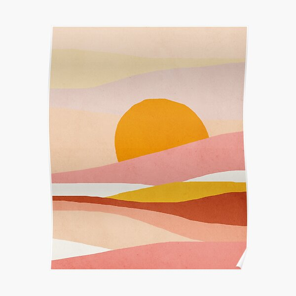 Abstract, Landscape, Sun, Mid century modern kids wall art, Nursery room Poster