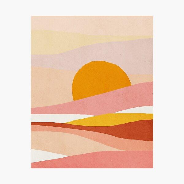 Abstract, Landscape, Sun, Mid century modern kids wall art, Nursery room Photographic Print