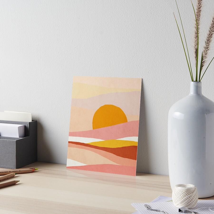 Abstract, Landscape, Sun, Mid century modern kids wall art, Nursery room Art Board Print