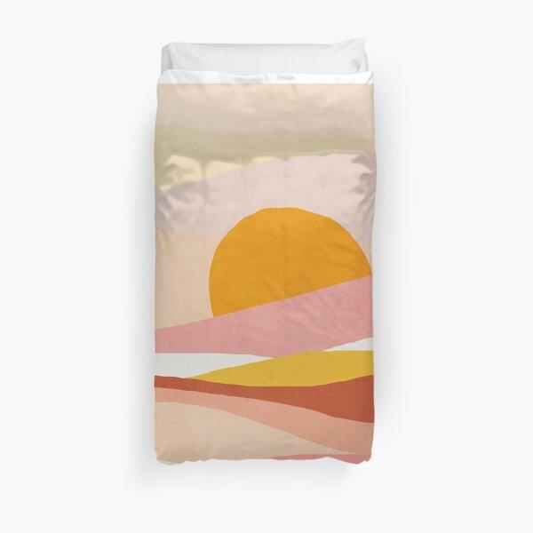 Abstract, Landscape, Sun, Mid century modern kids wall art, Nursery room Duvet Cover