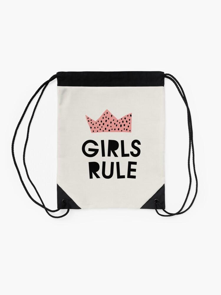 Alternate view of Girls rule, Abstract, Mid century modern kids wall art, Nursery room Drawstring Bag