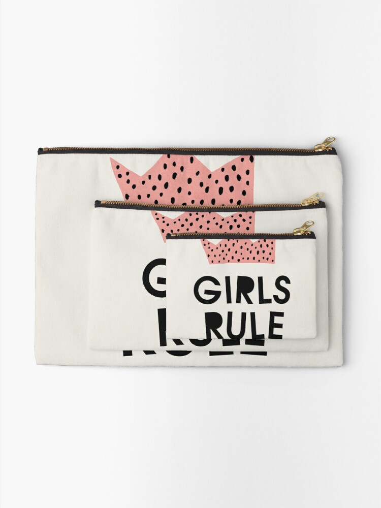 Alternate view of Girls rule, Abstract, Mid century modern kids wall art, Nursery room Zipper Pouch