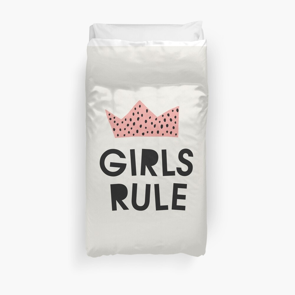 Girls rule, Abstract, Mid century modern kids wall art, Nursery room Duvet Cover