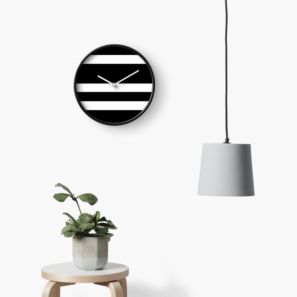Black and white modern stripe pattern Clock